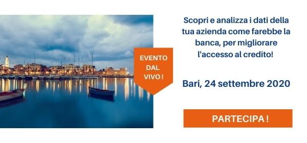 Evento Bari 24 settembre 2020 per migliorare rapporto banche
